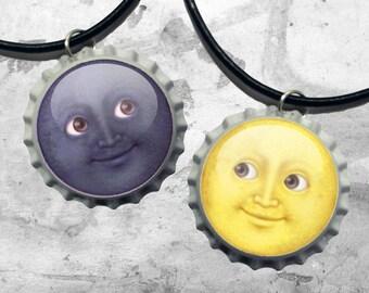 Moon emoji best friend couples necklaces