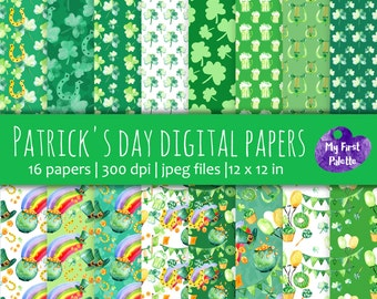 St Patricks's day digital paper. Patricks's day gift wrap. Printable Wrapping Paper. Scrapbooking Paper. Printable background. Clover