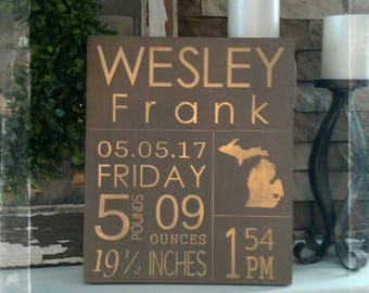 Personalized baby stats wood sign