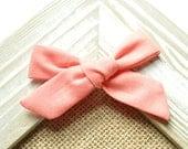 Flamingo Pink Evy bow - Baby Headband - Hand-Tied Hair Bow - Cotton Schoolgirl Bow - Hairbow - Nylon Headband - Toddler Hair Clip