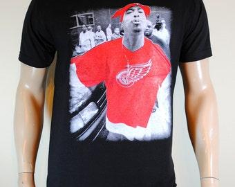 Tupac Shakur Mens T shirt Red Wings 2pac Tee Black