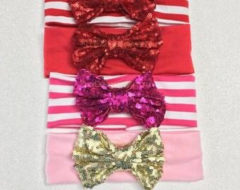 Red Pink Headband, sequin bow headband, baby headband