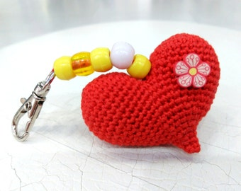 Kids valentines party favors Crochet heart keychain Small gift for girly Crochet Red heart Cute gift for teen girls Amigurumi Heart Keychain