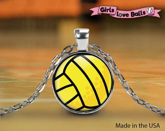 Cute Volleyball pendant on silver ball chain, elegant necklace