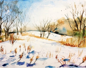 """Original Watercolour - Delivery free """"winter in my campaign"""" (trees fields cold meadow nature sky snow spring clouds wind)"""