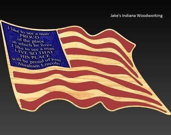 Wooden American Flag With President Lincoln Quote