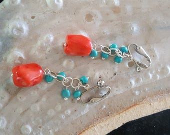 CLIP ON~Orange Coral Drop Earrings