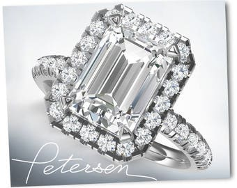 3.75 Ct. Emerald Cut Engagement Ring - Emerald Moissanite Halo Engagement Ring - White Gold Promise Ring - Valentine's Day