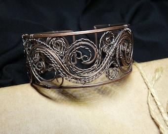handcrafted bracelet, copper bracelet, wire wrapped bracelet, copper jewelry, filigree bracelet, filigree jewelry, unique jewelry
