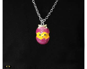 Necklace, Easter Pendant, Silver Tone, Chick, Egg, Glitter, Pink, Yellow, American Doll Clothes, 14 inch - 18 inch Doll Jewelry