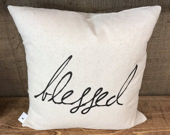 Rustic Blessed Pillow Cover
