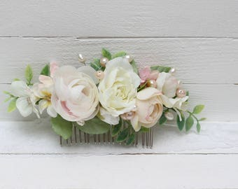 Ready to ship Flower comb Flower headpiece Pink white headpiece Bridal comb Flower accessories  Floral comb