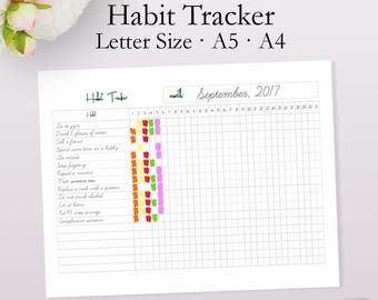 Habit Tracker, Habit Printable, Daily Habits, Monthly Tracker, Daily Planner Printables, Health Inserts A5, A4, Letter Size Instant Download