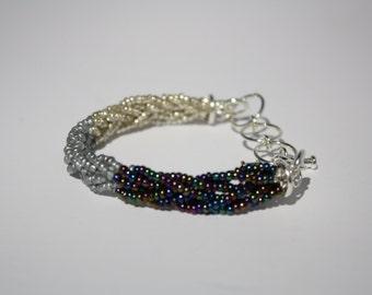 Ombre Braided Sead Bead Bracelet Black Silver White Adjustable