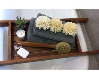 Timber bath caddy - choc walnut