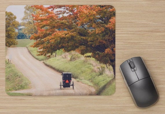 Amish Fall Mouse Pad - Country Mousepads - Buggy Computer Mat - Office Accessories - Office Decor - Desk Accessories - Office Gifts