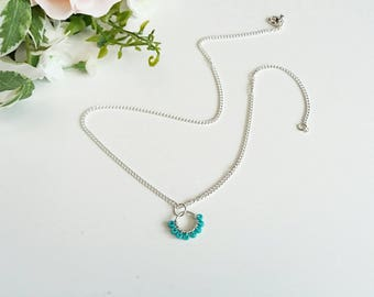 Turquoise pendant, dainty chain, beaded pendant, beaded necklace, turquoise jewellery, delicate jewellery, gifts for her, layering necklace
