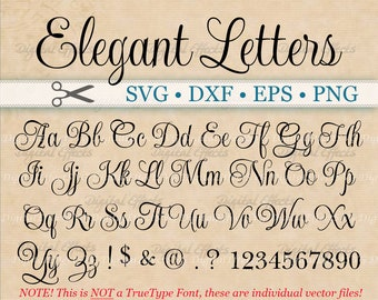 elegant script font monogram svg dxf eps png digital monogram diy fancy script cursive font silhouette files cricut cut files
