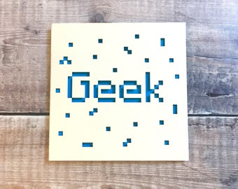 Geek Card, Colleague Birthday, Gaming Fan, Workmate Gift, IT Worker, Gadget Lover, Nerd, Lasercut Card, Graduation, Smarty Pants, Minecraft