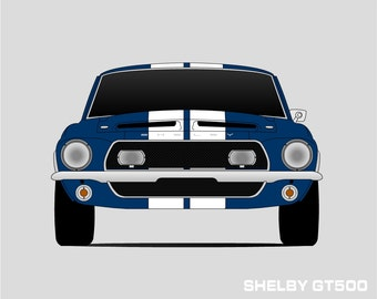 1968 Shelby GT500 Poster // Shelby Cobra // Shelby Mustang // Carroll Shelby // GT500KR