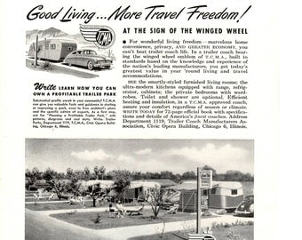 1948 trailer Coach assn. how to own a trailer park vintage magazine ad