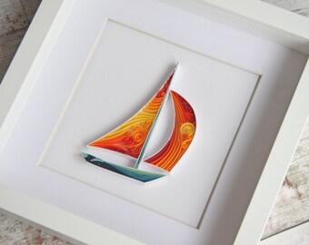 New Home Housewarming gift, Home wall art, nautical wall art, beach house decor, quilling art, home decor, birthday gift, new home gift