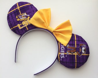 LSU Tigers Mickey Minnie Mouse Ears Louisiana State University Geaux Tigers! Head Band Headband