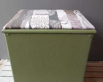 Storage Bin Green with Abstract Print