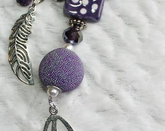 Purple Feathers Beaded Keychain