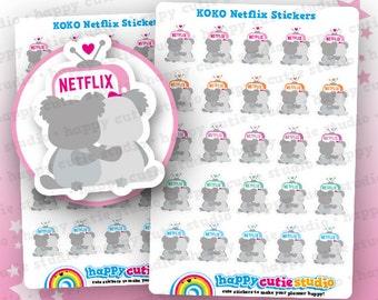 25 Cute Koko the Koala 'Netflix' Planner Stickers, Filofax, Erin Condren, Happy Planner, Kawaii, ...