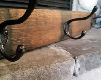 Coat Rack With 4 Black Hooks Bourbon Stave