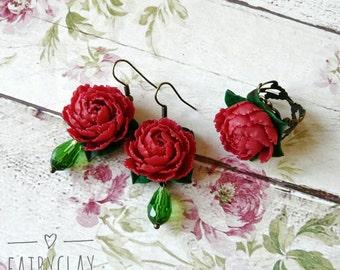 Peony jewelry set, handmade peony, handmade flowers, beautiful jewelry, peony earrings, peony ring, clay flowers, polymer clay jewelry.