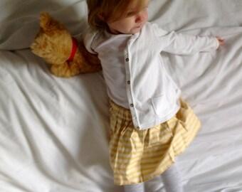 Yellow and Cream Striped Baby Girls Cotton Skirt