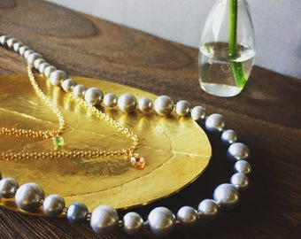 Perfect for parties! Silky Pearl/with 2 chain with tourmaline/long necklace 70cm