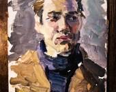 Male portrait, vintage painting, oil painting,  Soviet art, Soviet painting,  vintage décor, vintage portrait, famous painter.