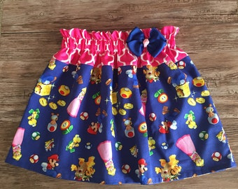 Super Mario Skirt, Mario Brothers Skirt, Mario Brothers Birthday Skirt , Princess Peach Skirt
