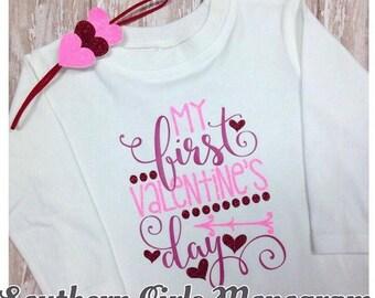 First Valentines Day Shirt - Girls Valentine Shirt - Baby Valentine Shirt