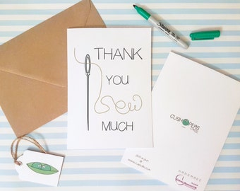 Funny Thank You Card - Puns - Alternative Thank You Card - Say Thank You - Sewing Jokes - Quirky Thank You Card - Thanks - Charity Cards