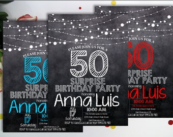 Surprise 50th birthday invitation, Chalkboard black, white, blue, red, purple, glitter, any color, Adult birthday, String Lights, digital