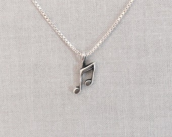 Music Note Necklace, Music Note Charm,Dainty Music Note, Music Note Charm Necklace, Quarter Note Charm