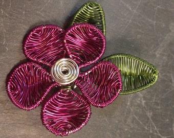 Dark pink flower brooch, hat pin. Cerise New bijoux wire wrapped flower hat or lapel pin, enamelled copper wire, Jewellery.