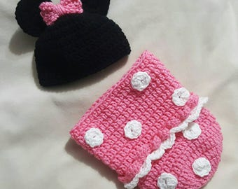 Newborn Minnie Mouse inspired cocoon set