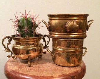vintage brass plant pots, priced separately, shell and hammered brass, two on the right are still available, with handles, and patina