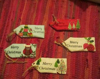 CLEARANCE 50% OFF Handmade Fabric Christmas Tags Set of 5