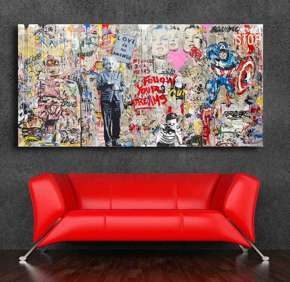 Mr brainwash grafitti art einstein mural 36 x 20 canvas print for Mural mr brainwash