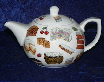 Cakes Chintz teapot -  2 cup or 6 cup white porcelain teapot  with cakes chintz all round