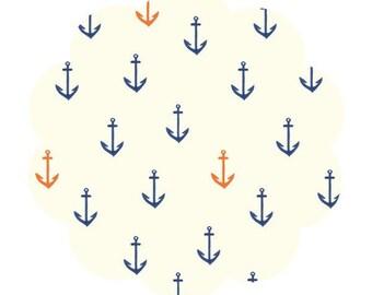 Anchors aweigh print. Saltwater fabric. Organic Apparel/quilt fabric. DIY sewing fabric. Anchor print baby fabric. Sailor sewing fabric.