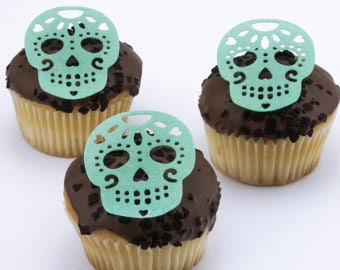 Candy skull cupcake cake toppers edible cake decoration*