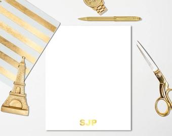 8.5x11 Monogrammed Gold Foil Notepad -  Basic Stationery, Basic Notepads , Monogrammed Notepad