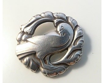 Early Georg Jensen sterling silver dove brooch. Danish design